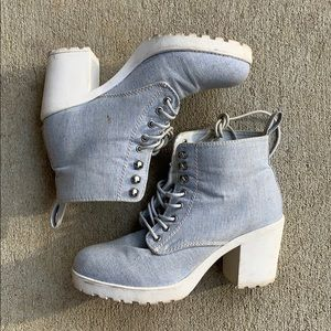 Light Denim Platform Boots